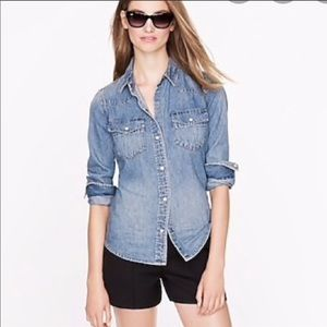 J Crew Western Snap Button Chambray Top Size 8